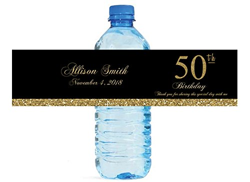 50th Birthday Black and Gold Glitter Water Bottle labels, easy to use, self stick
