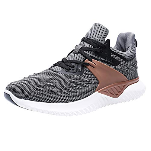 LUCAMORE Men's Running Shoes Fashion Breathable Sneakers Mesh Knit Casual Athletic Lightweight Walking Shoes Grey