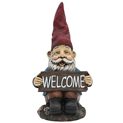 TruePower Quality Garden and Patio Decor Garden Gnome and Welcome Sign, 14″ For Sale