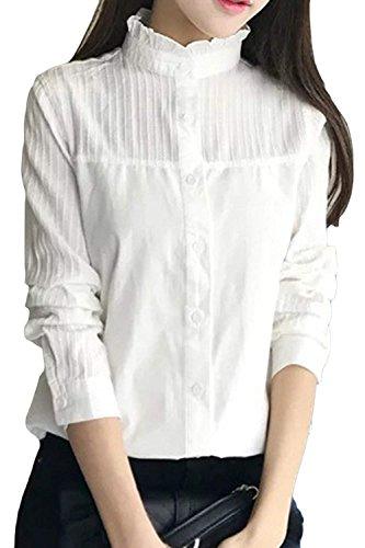 年次ドループアイデアLIANHONG カジュアルシャツ チュニック レディース スタンドカラー シャツ ブラウス 綿 長袖 通勤 通学 女性用 ロング丈シャツ トップス ブラウス (サイズ(XL))