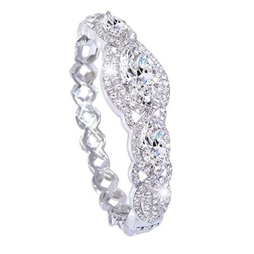 EVER FAITH Women's Austrian Crystal Zircon Drop Marquise Shape Bangle Bracelet