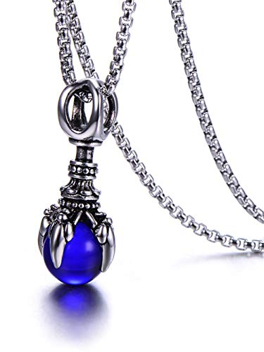 HUANIAN Charm Punk Titanium Stainless Steel Dragon Claw Pendant Crystal Ball Necklace,24inches Chain ()