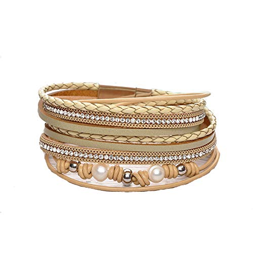 Multi Layer Leather Bracelet Braided Wrap Cuff Bangle Alloy Magnetic Clasp Handmade Jewelry for Women Girl (Yellow-Pearl)