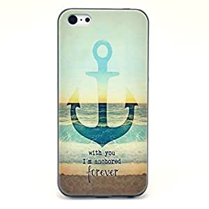 iPhone 5C Case- Sunshine Case Fashion Style Colorful Painted Anchor And Sea Clear Bumper Hard Case Back Cover Protector Skin For iPhone 5C (With You, I am Anchored Forever)