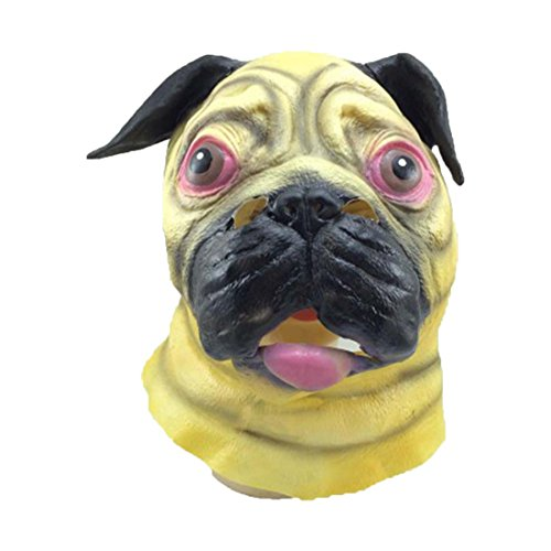 HBOS Halloween Mask Shar Pei Head Mask for Masquerade Parties]()