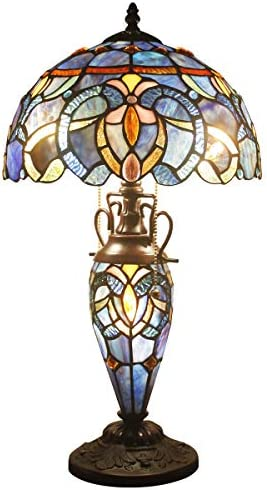 Tiffany Style Lamp Stained Glass Night Light Base 3 Light Blue Purple Clouldy Lampshade W12, H22 Inch Antique Bookcase Beside Desk Reading Lighting for Living Room Bedroom S558 WERFACTORY