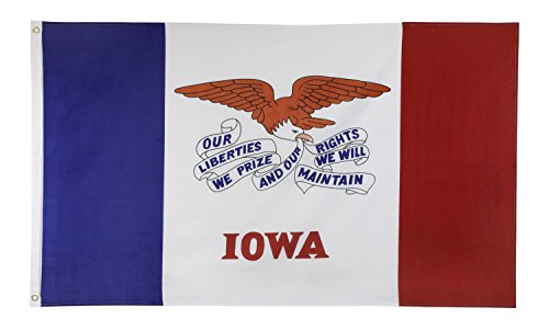Shop72 US Iowa State Flags - Iowa Flag - 3x5' Flag From Sturdy 100D Polyester - Canvas Header Brass Grommets Double Stitched From Wind Side