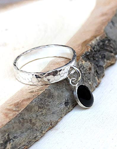 Gemstone Designer Bands - Ring with Charm, 925 Sterling Silver and Black Onyx Gemstone Unique Dangle Ring, Handmade Designer Hammered Band, Statement Jewelry Gift for Women