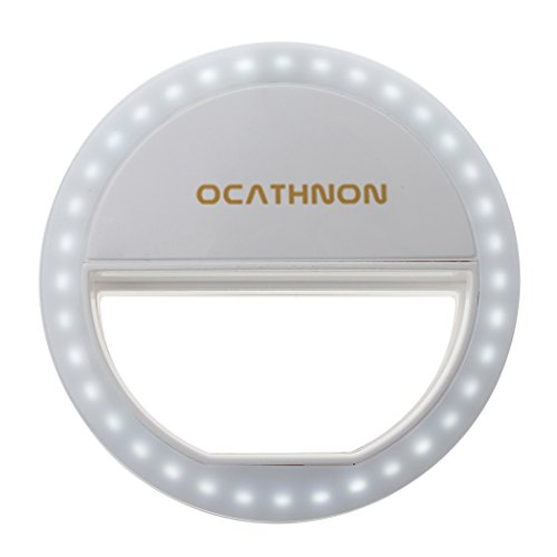 Cozytek Ring Light Mini Portable 36 LED Selfie Light for Girl Fill Light in Darkness Light Clip on Smart Phones and Tablets (White) (Ringing Phone Light Flasher)