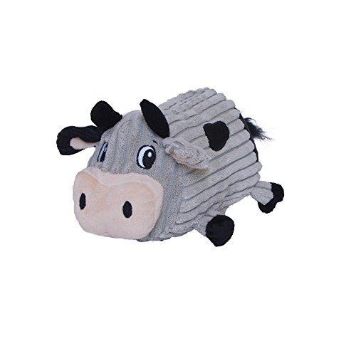 (Fattiez Round Squeaky Plush Dog Toy by Outward Hound, Medium, Cow )