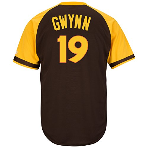 Tony Gwynn San Diego Padres #19 MLB Hall of Fame Men's Cool Base Cooperstown Pullover Jersey (Small)