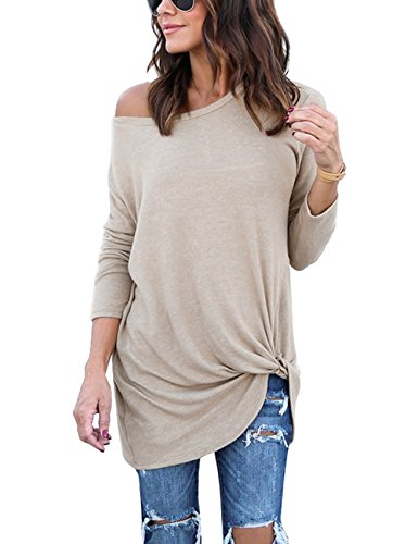 5153be82ac Lookbook Store Women 039s Casual Soft Long Sleeves Knot Side Twist Knit  Blouse Top