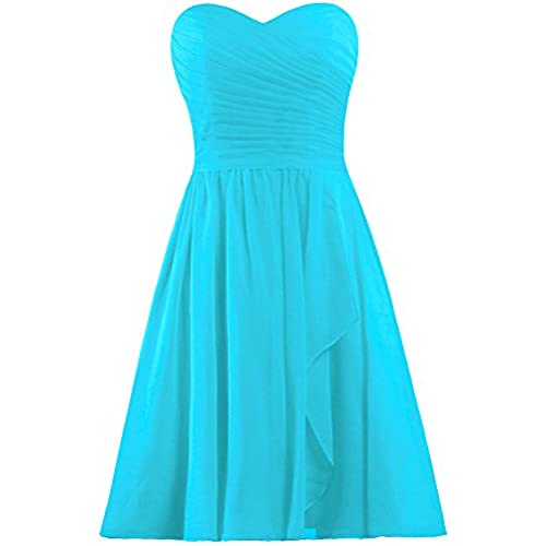Blue turquoise bridesmaid dresses amazon ants womens sweetheart short bridesmaid dresses chiffon wedding party dress size 12 us turquoise junglespirit Gallery