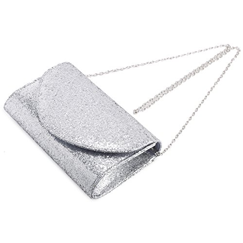 PU Clutch Silver Shiny Wedding Purse Handbag Bridal Womens Bag Evening Glitter Envelope Anladia qxtBB7