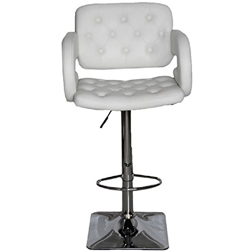 US Pride Furniture Olivia Collection Modern Faux Leather Upholstered Adjustable Swivel Bar Stool with Tufted Finish and Open Arms White ()
