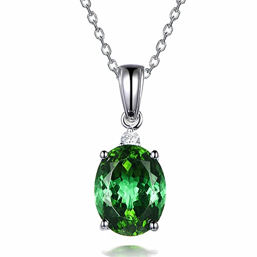Fashion Christmas Oval Solid 14K White Gold Natural Gorgeous Tourmaline Gemstone Diamond Wedding Pendant For Women by Kardy