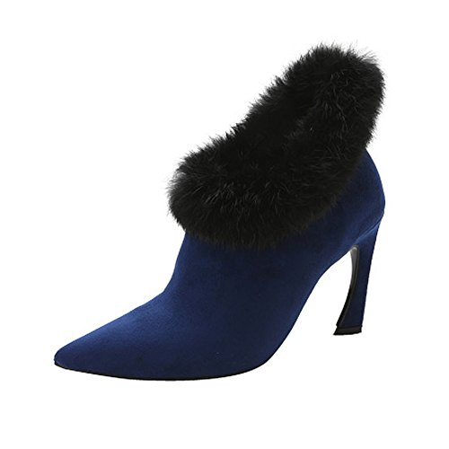 Fereshte Fashion Sweety Pointed-toe Faux Fur All-matched Ankle Boots Blue 4CMTRa3exK