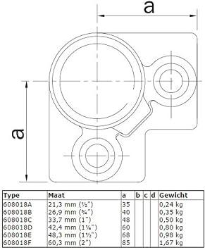21,3 mm feuerverzinkt Eck-Verbinder-Kreuzst/ück Temperguss galvanisiert Klemp 90-Grad Schrauben 3-Wege-Eckst/ück Typ 18A inkl
