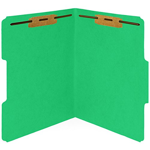 50 Green Fastener File Folders- 1/3 Cut Reinforced tab- Durable 2 Prongs Bonded Fastener designed to organize standard medical files, law client files, office reports– Letter Size, Green, 50 PACK (End File Tab)