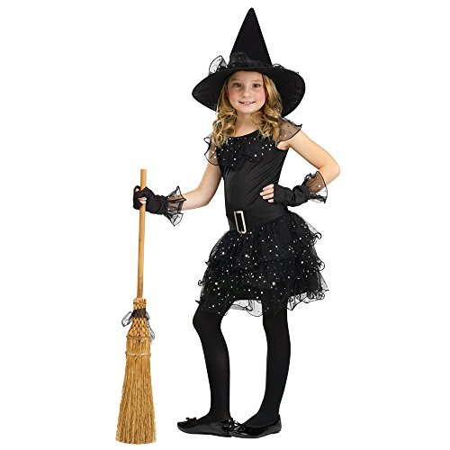 Fun World Girls Glitter Witch Costume, Black, Large 12-14