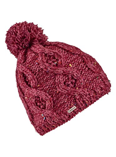 - Burton Women's Chloe Soft Lycra Lined Pom Beanie (Rose Brown/Port Royal Marble)