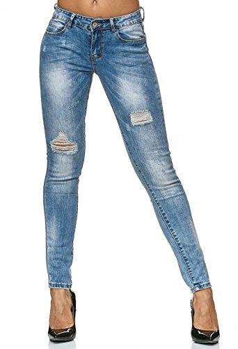 Stretch Jeans Distrutto Pantaloni Donne Blu D2240 Skinny Tubo xEBFqqdHw