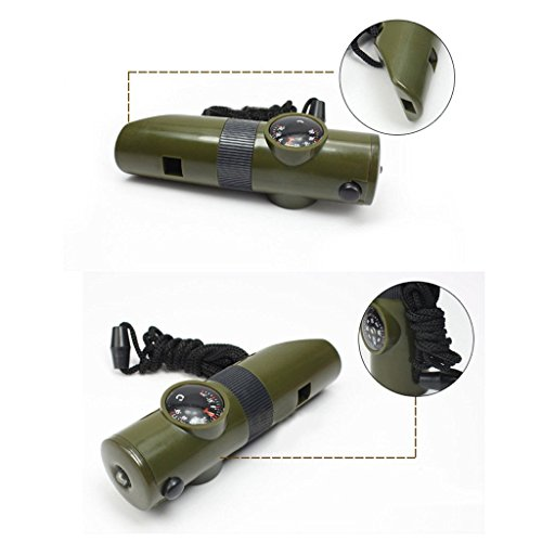Advanced Camping Supplies 7 in 1 Zombie Apocalypse Survival Kit, Safety Whistle, Magnifying Lens, Bright LED Flashlight, Signal Mirror, Compass, Thermometer, Long Life Battery(Included), and Lanyard