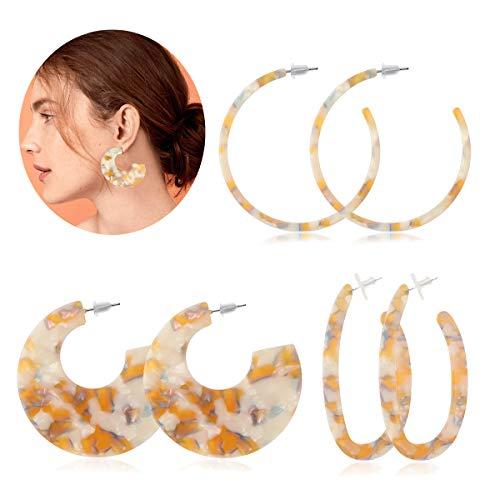 Adramata Acrylic Hoop Dangle Earrings for Women Leopard Print Resin Earring Statement Jewelry … ()