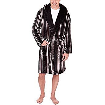 c3fd310021 Pierre Roche Mens Luxury Supersoft Hooded Bath Robe Striped Checked Dressing  Gown (Medium