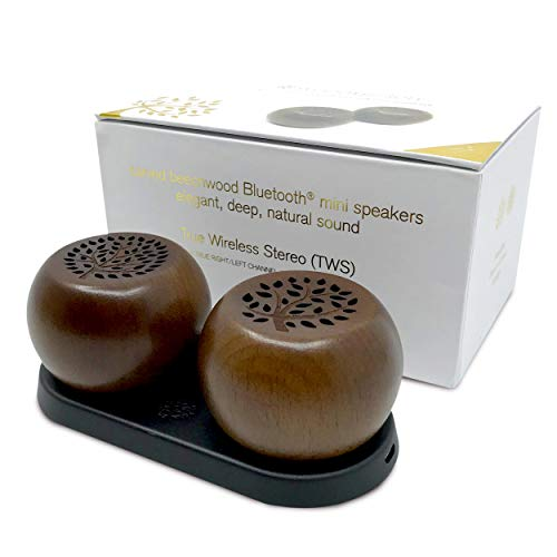 (woodulisten Wooden Wireless Mini Bluetooth Speakers - Beautiful Natural Sound - Use 1 or Pair 2 for True Wireless Stereo (TWS) Technology, Set of 2 pairable Speakers: 1 Tree & 1 Branch (Java Tone))