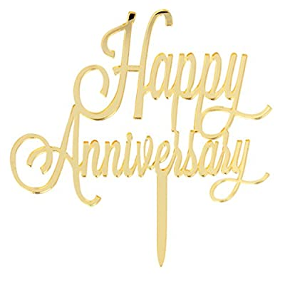 INNORU ™ Happy Anniversary Cake Topper - Gold Toppers - Wedding Anniversary Party Decoration Photo Props