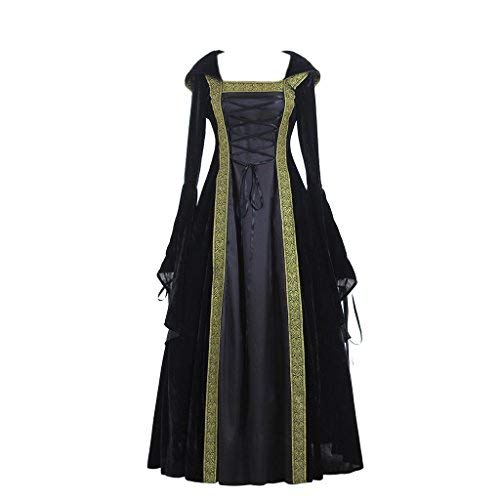 CosplayDiy Women's Medieval Renaissance Retro Gown Cosplay Costume Dress M Black -
