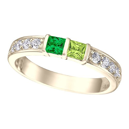 NANA Princess w/side CZs Couples 2 stones Ring with His & Hers Simulated Birthstones - 10k Yellow Gold - Size 7 by NaNa