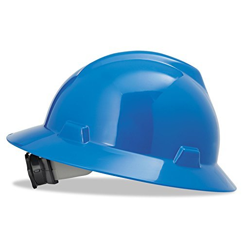 MSA (Mine Safety Appliances) 475368 MSA Blue V-Gard Polyethylene Slotted Full Brim Hard Hat with Fas Trac Ratchet Suspension, Plastic, 1'' x 1'' x 1'' by MSA (Mine Safety Appliances)