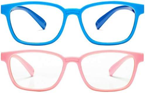 Pro Acme Blue Light Glasses for Kids Boys Girls Clear Computer Gaming TV Glasses Unbreakable Frame