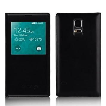 JAMMYLIZARD - Carcasa para Samsung Galaxy S5, Funda de Cuero sintético, S View, función Smart View para Samsung Galaxy S5, Color Negro