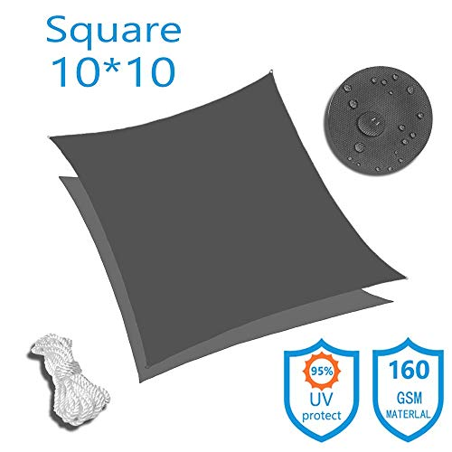 KUD Shade 10 x10 Square Dark Gray Waterproof Sun Shade Sail Canopy Perfect for Outdoor Garden Patio Permeable UV Block Fabric Up to 90 UV Protection