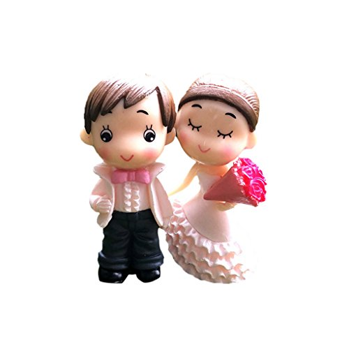 - MagiDeal 1 pack Miniature Bride and Groom Figurines Micro Landscape Fairy Garden Bonsai Decor - White, 2.6x5.6cm