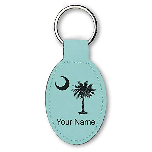 Oval Keychain, Flag of South Carolina, Personalized Engraving Included (Teal) ()