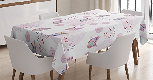 Butterflies Decorations Tablecloth by Ambesonne, Butterflies and Branches Romantic Spring Retro Faith Optimism Change Fly Theme, Dining Room Kitchen Rectangular Table Cover, 52 X 70 Inches by Ambesonne