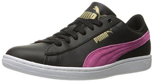 PUMA Women's Vikky Ls Sfoam Fashion Sneaker, Puma Black/Fandango, 8 M US