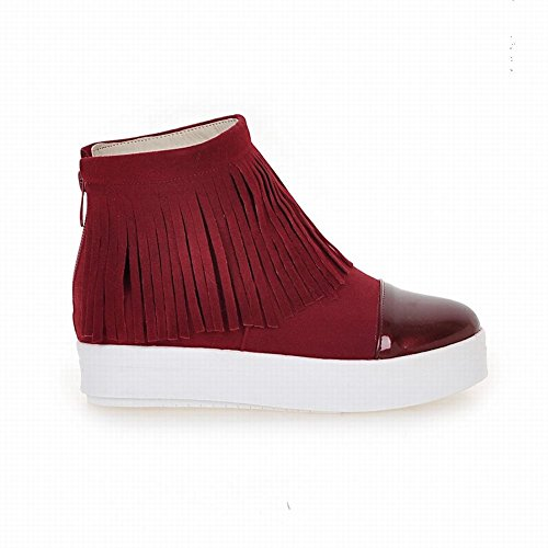 Latasa Womens Platform Ankle High Tassel Boots Red 7YwZbx