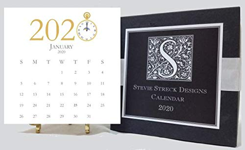 Stevie Streck 2020 Desk Calendar with Glitter and Gold Easel by Stevie Streck