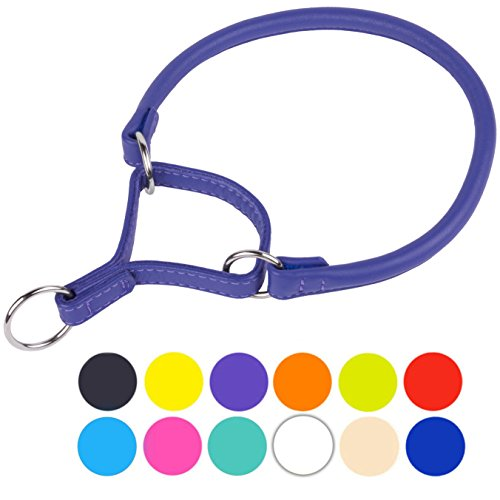 CollarDirect Rolled Martingale Dog Collar, Training Genuine Leather Collars for Dogs Small Medium Large Puppy Black Pink Brown White Red Green Blue Orange (Purple, Neck Fit 16
