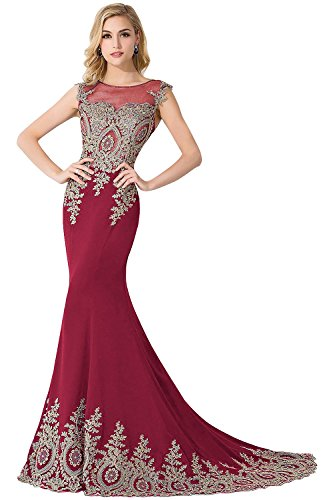 Meerjungfrau Wein Abendkleid Babyonlinedress® Tüll Ärmellos Ballkleider Applikation Partykleid Rot Mit Damen Lang qXXawZp