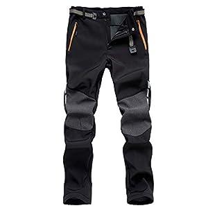 7VSTOHS Pantalon de randonnée en Molleton pour Hommes Imperméable Coupe-Vent Respirant Chaud Pantalons de randonnée en Plein air pour Pantalon de Chasse à Ski Hiver Automne Printemps