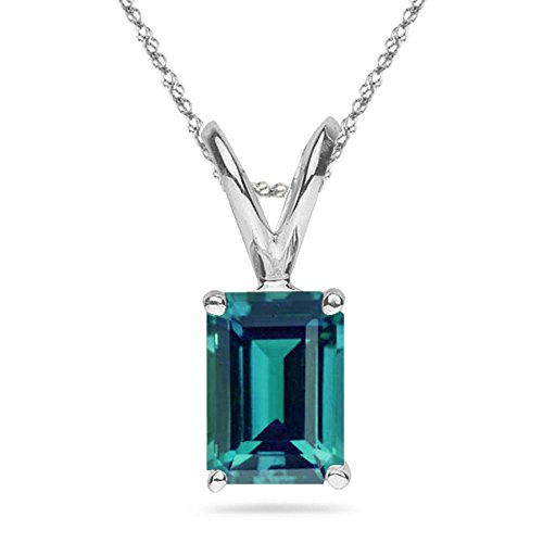1.16-1.54 Cts of 7x5 mm AAA Emerald Lab created Russian Alexandrite Solitaire Pendant in 14K White Gold