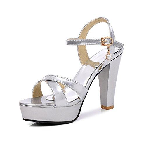 signore tavoli sandali impermeabile sexy sandali argenteo i high heeled sandali spesso sandali ai 35 i xIqIZw1r