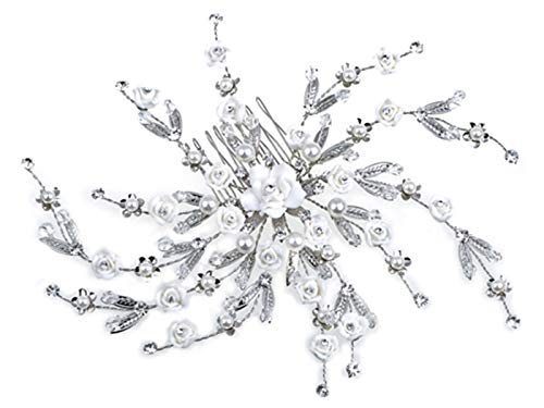 Alilang Czech Crystal Rhinestone Flower Rosette Faux Pearl Pinwheel Hair Comb