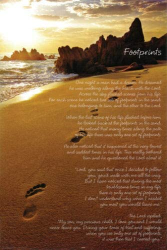 It is a picture of Poem Footprints in the Sand Printable pertaining to bible